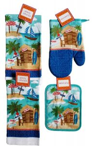 Summer Kitchen Towel and Linen (Tiki Hut and Beach Themed )Set of 4 Pieces - Two 15 in. x 25 in. Dish Towels, One Oven Mitt and One Pot Holder