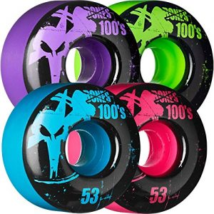 Bones Wheels 100s Original Assorted Colors Skateboard Wheels - 53mm 100a (Set of 4)