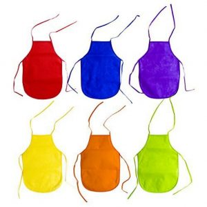 Children's Artists Fabric Aprons - Kitchen, Classroom, Community Event, Crafts & Art Painting Activity. Safe Clean 12 Pack Assorted Colors by Super Z Outlet®