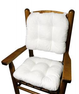 Cotton Duck White Child Rocking Chair Cushions - Seat Cushion and Back Cushion for Children's Rocker - Latex Foam Fill - Reversible- Machine Washable