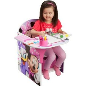 Disney Chair with Desk, Minnie, comes with a pull out under seat storage bin made of fabric