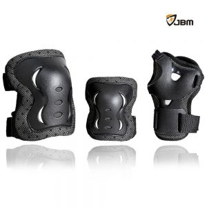 JBM® Children Cycling Roller Skating Knee Elbow Wrist Protective Pads--Black Adjustable Size, Suitable for Skateboard, Biking, Mini Bike Riding and Other Extreme Sports