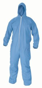 Kimberly-Clark KleenGuard A60 Microporous Film Laminate Bloodborne Pathogen and Chemical Splash Protection Coverall with Hood, Disposable, Elastic Cuff, Blue