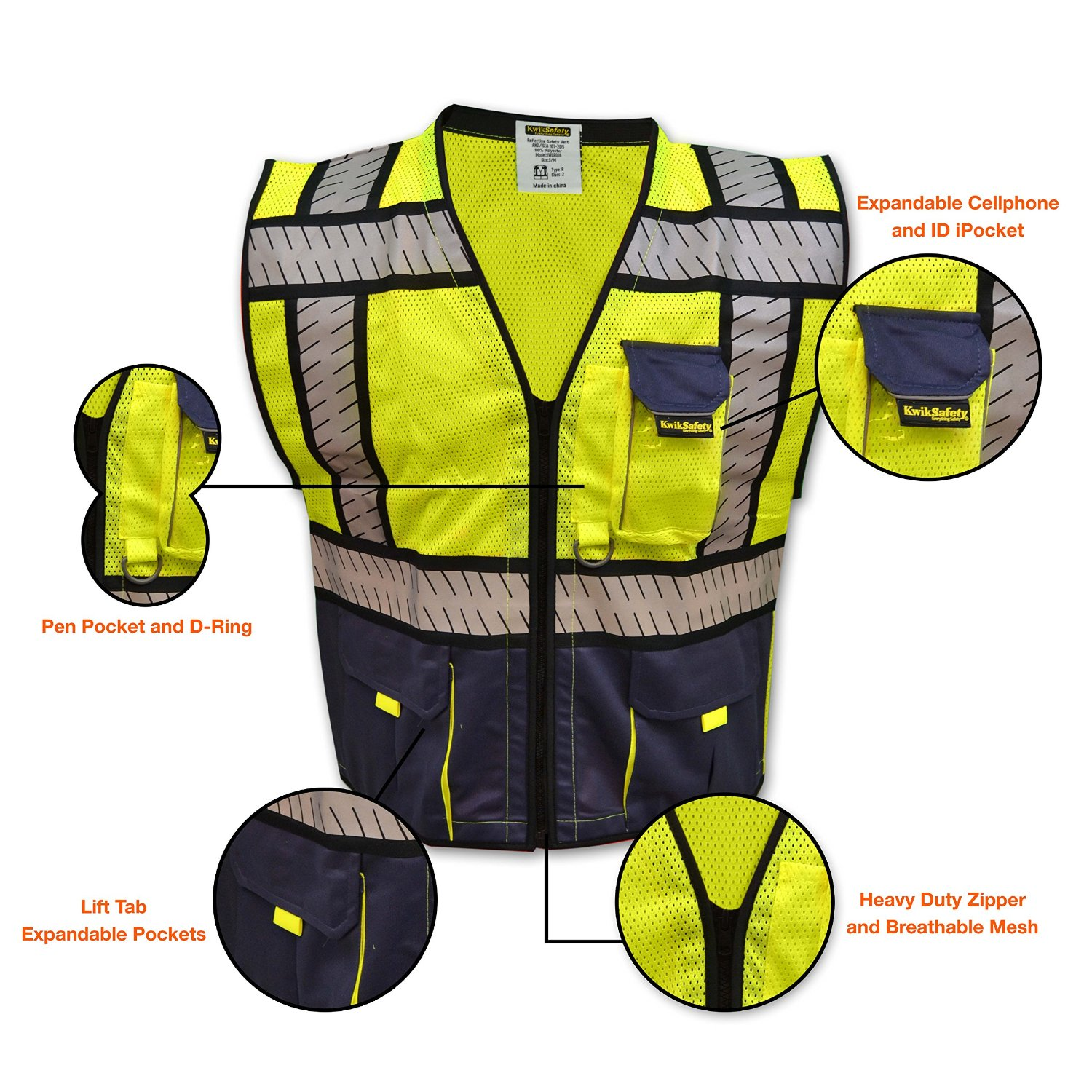 Safety Vest Traffic Fluorescent Hi-vis Pvc Tape/ Mesh Vest Workplace Safety Supplies