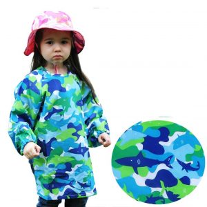Long Sleeve Art Smock, Good Coverage, Breathable, Adjustable in Size (Grade K-3 5-7years, Blue Shark)