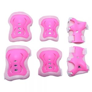Mudder Kids Knee Elbow Wrist Pads Guards Set, Pink