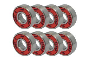 SCSK8 ABEC 9 Bearings Skateboard Deck Longboard Red Silver 1 set of (8)