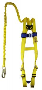 Sellstrom 4400-BA1CKTS Fall Protection Kit, 3 Point Adjustable Harness in Chest and Legs with Sewn Attached 6' Shock Absorbing Lanyard, Polyester, Universal, Yellow