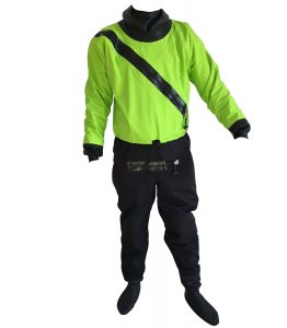 Shakoo simple front entry kayaking drysuit with latex socks and front zipper