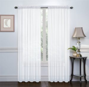 "HLC.ME White 2-Pack 108 inches x 84 ""inches Window Curtain Sheer Panels"