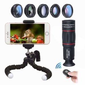 Cell Phone Camera Lens Attachments, Vorend Premium 5 in 1 Universal Lens Kit 198° Fisheye 0.63X Wide Angle 15X Macro 2X Telephoto CPL Filter Lens for iPhone