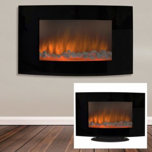 Best Choice Products Large 1500W Heat Adjustable Electric Wall Mount & Free Standing Fireplace Heater with Glass XL