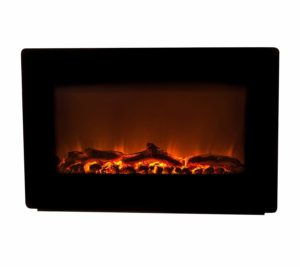 Fire Sensing Black Walled Mounted Electricity Fireplace