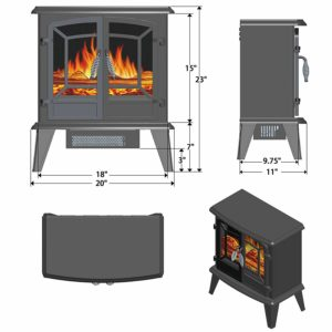 Golden Vantage 20 1500W Adjustable 5200 BTU Freestanding 2-Setting Portable Tempered Glass Electric Fireplace Stove Heater