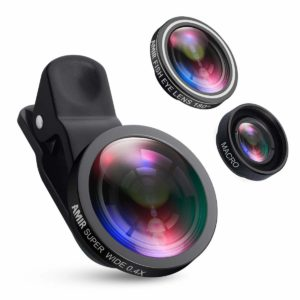 AMIR for iPhone Lens, 0.4X Wide Angle Lens + 180°Fisheye Lens & 10X Macro Lens (Screwed Together)