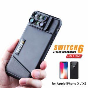 Ztylus Switch 6 for Apple iPhone X / XS: 6 in 1 Dual Optics Lens System (Fisheye, Telephoto, Wide-angle
