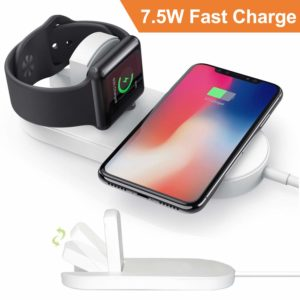 CulaLuva Magnetic Wireless Charger 2-in-1 Pad Stand Cable Compatible with Apple Watch