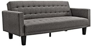 DHP Sienna Sofa Sleeper, Tufted Linen Upholstery with Tapered Wooden Legs, Gray