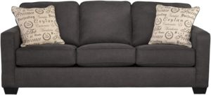 Signature Design by Ashley - Alenya Queen Size Sleeper Sofa 2 Throw Pillows, Charcoal