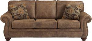 Signature Design by Ashley - Larkinhurst Contemporary Faux Leather Sleeper Sofa Nailhead Trim - Queen Size - Earth