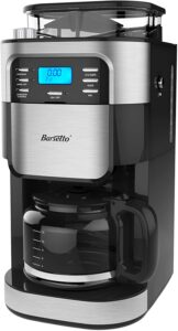 Barsetto Coffee Maker with Grinder,Grind and Brew Automatic Coffee Machine 10 Cup with Auto Shut-off,Black